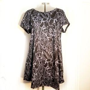 REBORN Floral Tunic Dress Purple Black 2X 2XL
